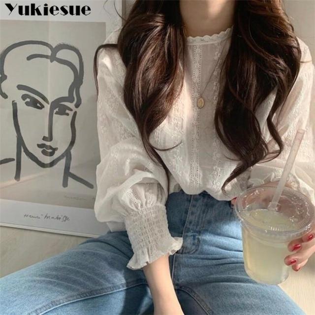 vintage plus size women tops white lace loose blouse shirt womens tops and blouses long sleeve women shirts elegant blusas 3