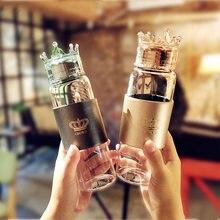 Стеклянная бутылка для воды с корона крышкой черная Золотая