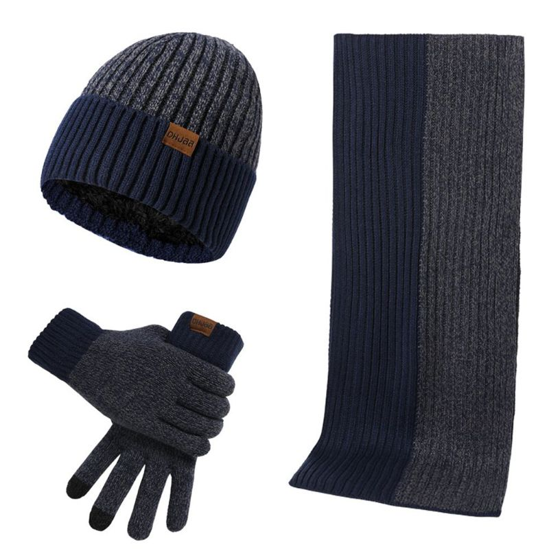 3 Pcs/set Unisex New Double-sided Color Matching Scarf Autumn Winter Fashion Men Women Simple Thickening Hat Gloves Set