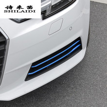 Car styling For Audi A4 B9 Head Front fog lamps covers grille slats lights Stickers decoration stainless steel auto Accessories(China)