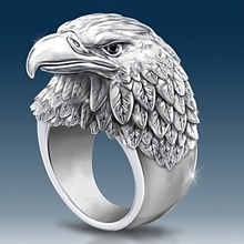 Titanium Steel Eagle Head Ring Jewelry for Men Boys NO12 delicate titanium steel rhinestone ring jewelry for men