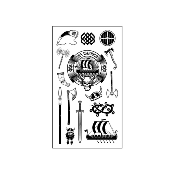 Waterproof Temporary Tattoo Sticker Sea Warrior Totem Tool Ax Boat Battlehorn Sword Flash Tatoo Fake Tatto for Men Women image