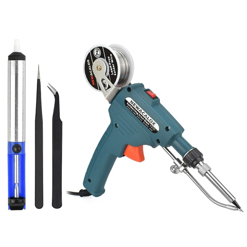 220V 60W Portable Automatic Feed Electric Soldering Gun Kit with 1 Desoldering Pump and 2 Tweezers Household Tools
