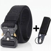 Belts AWMN for Men Casual Nylon Tactical-Belt Wear-Resistant Metal-Buckle Cowboy-Trousers
