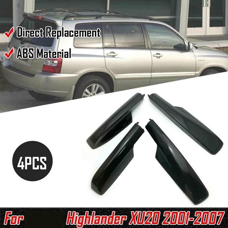 4Pcs Black Roof Rack Cover Rail End Shell for Toyota Highlander XU20 2001-2007