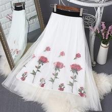 New Rose Embroidery Mesh Summer Skirt Long Pleated High-waist Pettiskirt In Fairy  Woman