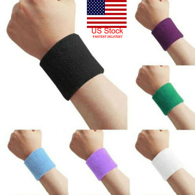1 Pair Unisex Sweatbands Sports Wrist Tennis Squash Badminton GYM Wristband Gift Red Color
