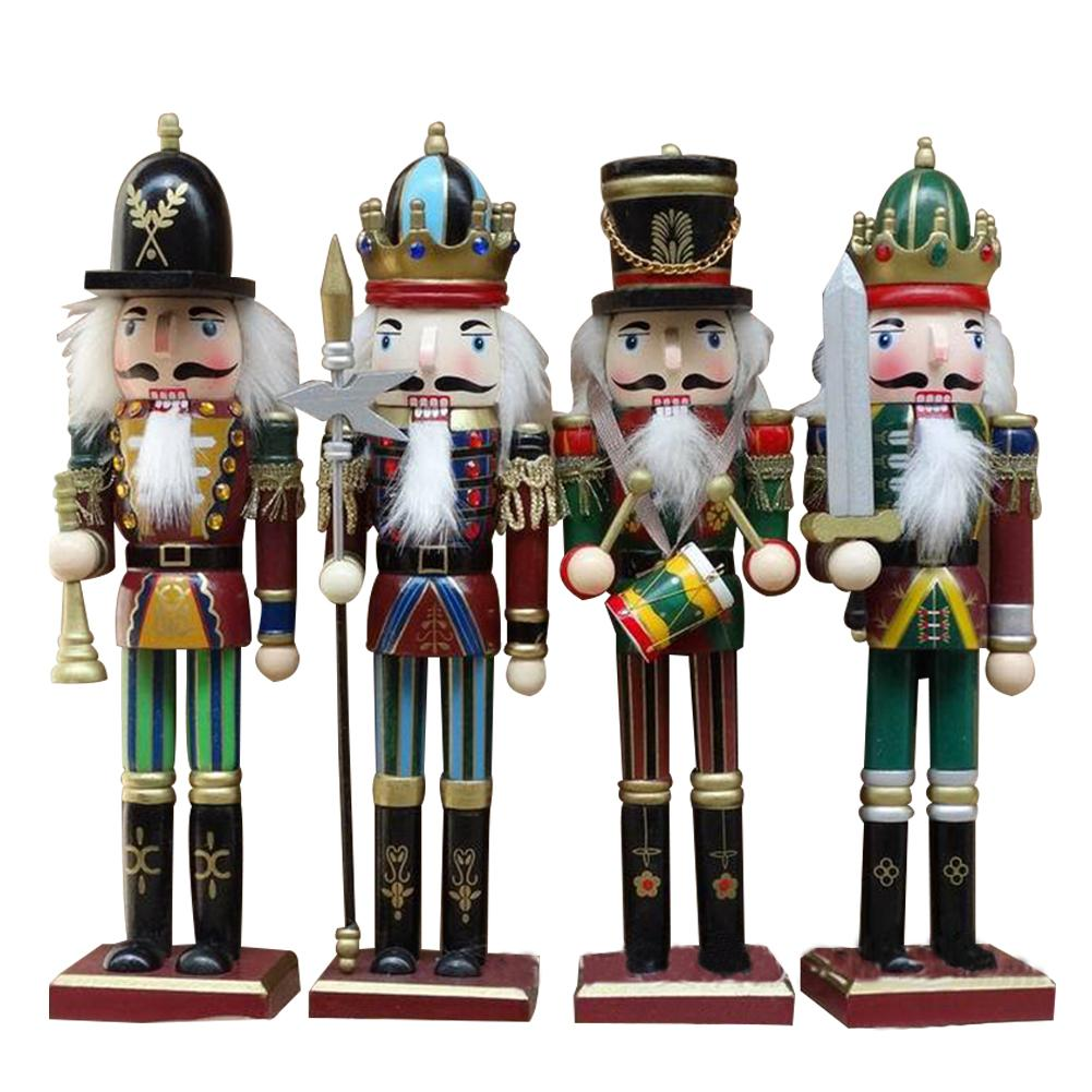 Christmas Decorations For Home 30CM Solid Wood Nutcracker Soldiers Gift Set Classic Hand Painting Doll Great Decoration