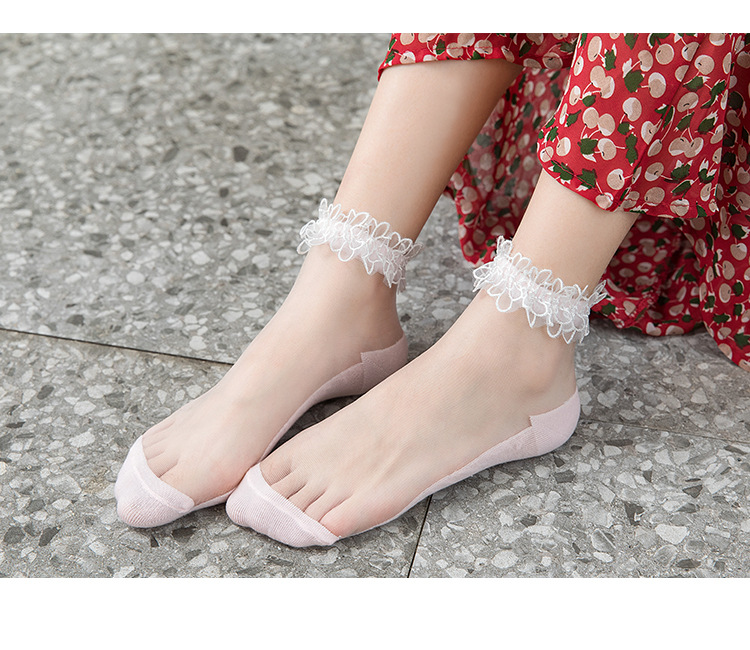 H9a96cc90c5e84b32b6be3a8591b279ecf - Flowers Lace Ladies Sheer Socks Transparent Thin Crystal Silk Elastic Cotton Sole Elegant Women Ankle Socks New Girls Hosiery