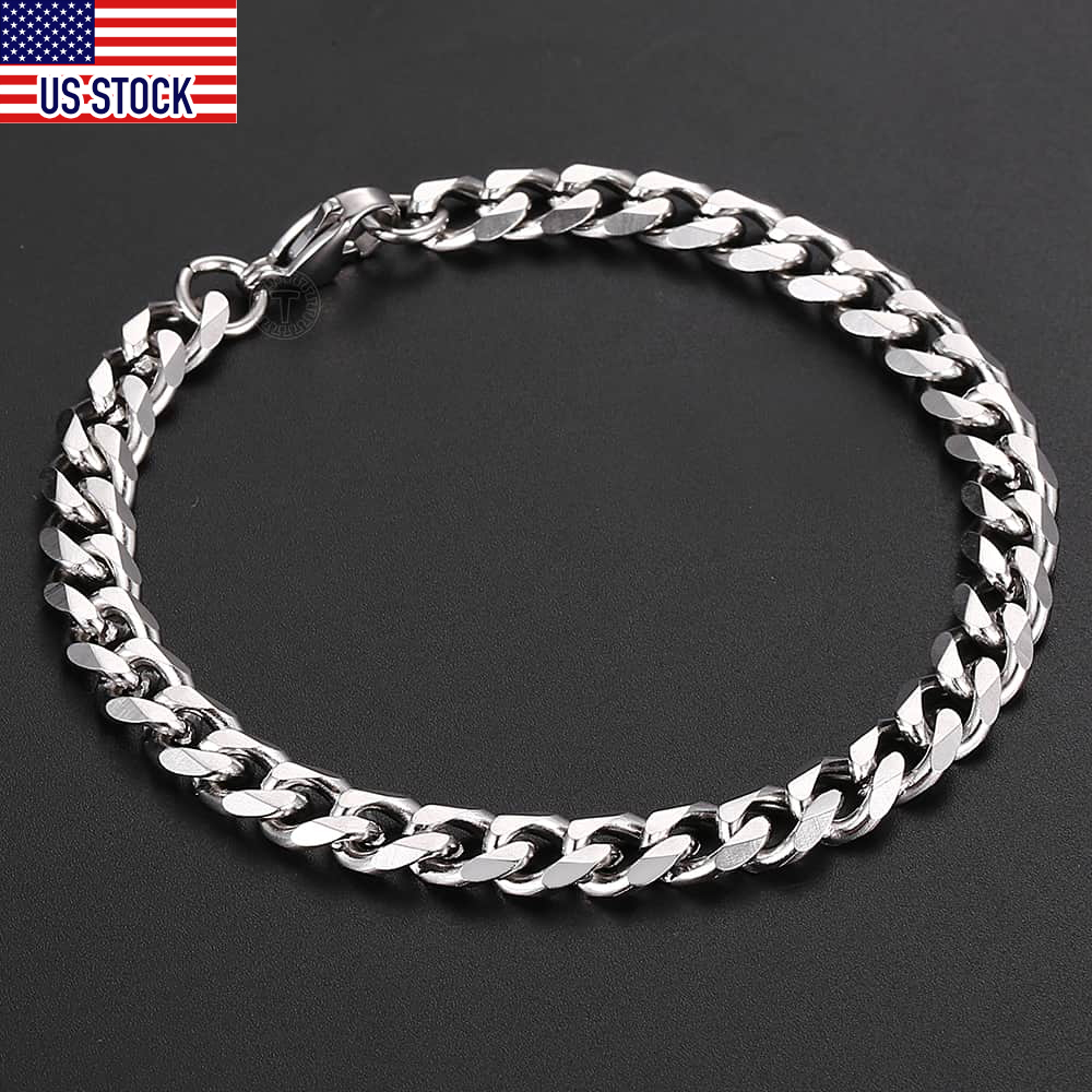 3/5/7mm Anklet for Women Girls Curb Cuban Link Chain Stainless Steel Womens Chains Jewelry Gift 10inch Daily Wear DKAM05