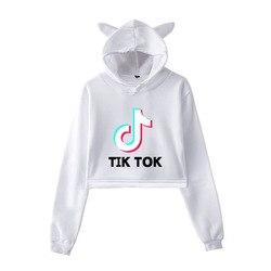 2019 w nowym stylu Tik Tok Douyin luźne i Plus-size kocie uszy damska sukienka z kapturem z pępkiem 3