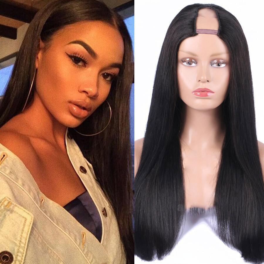 U Part Wig Straight Human Hair For Black Women Natural Wigs Human Hair Wig Brazilian Virgin Human Hair Wigs With Free Shipping