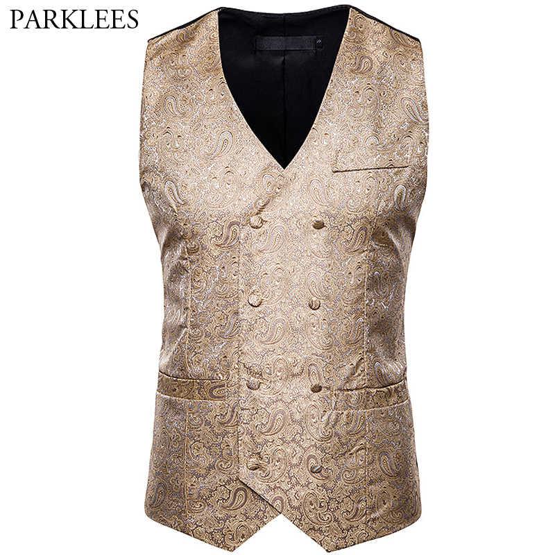Chaleco de traje de Jacquard de anacardo ajustado de doble botonadura Chaleco de lujo para hombres, Chaleco de fiesta de boda, ropa de actuación
