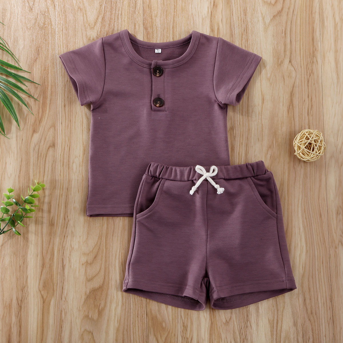 Pudcoco Toddler Baby Boy Clothes Solid Color Short Sleeve T-Shirt Tops Short Pants 2Pcs Outfits Cotton Casual Clothes