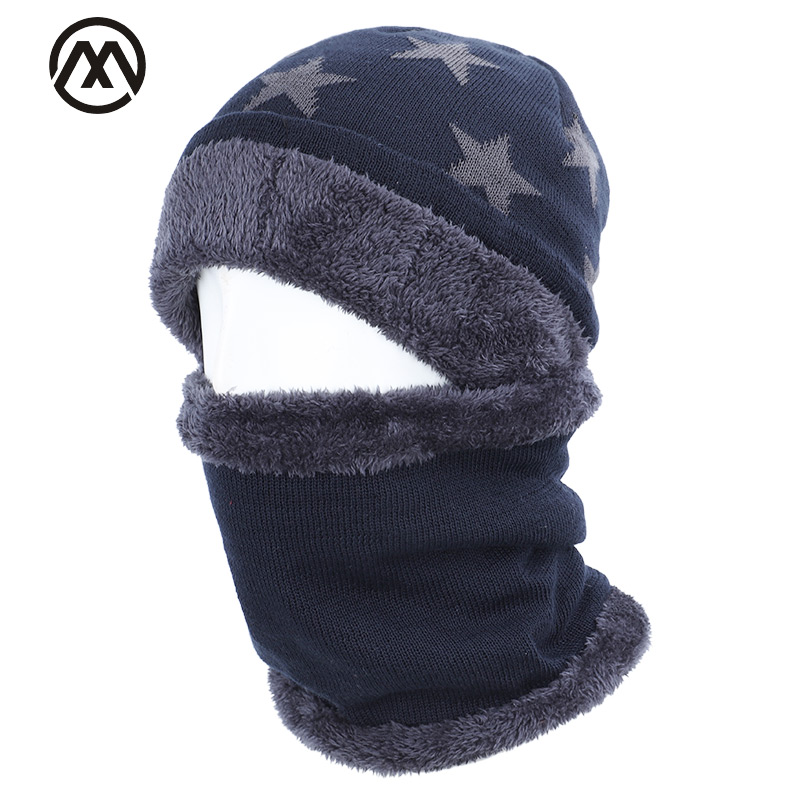 2019 New Five-star Cotton Hat Scarf Set Men And Women Winter Hat Scarf 2 Sets Plus Velvet Thick Warm Hat Velvet Male Peas