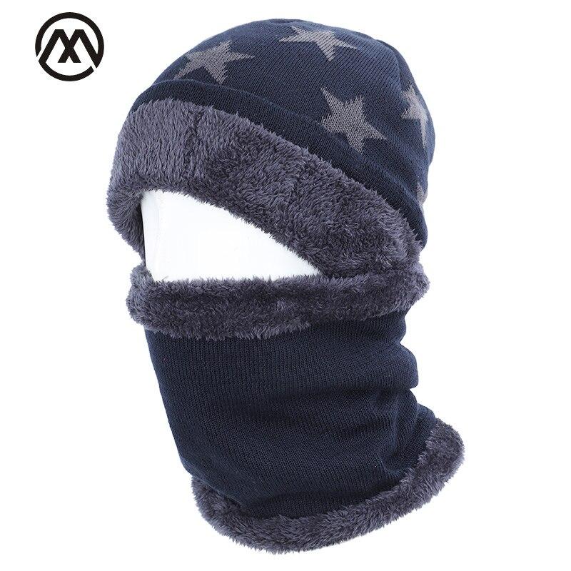 2019 New Five-star Cotton Hat Scarf Set Men And Women Winter Hat Scarf 2 Sets Plus Velvet Thick Warm Hat Velvet Male Peas