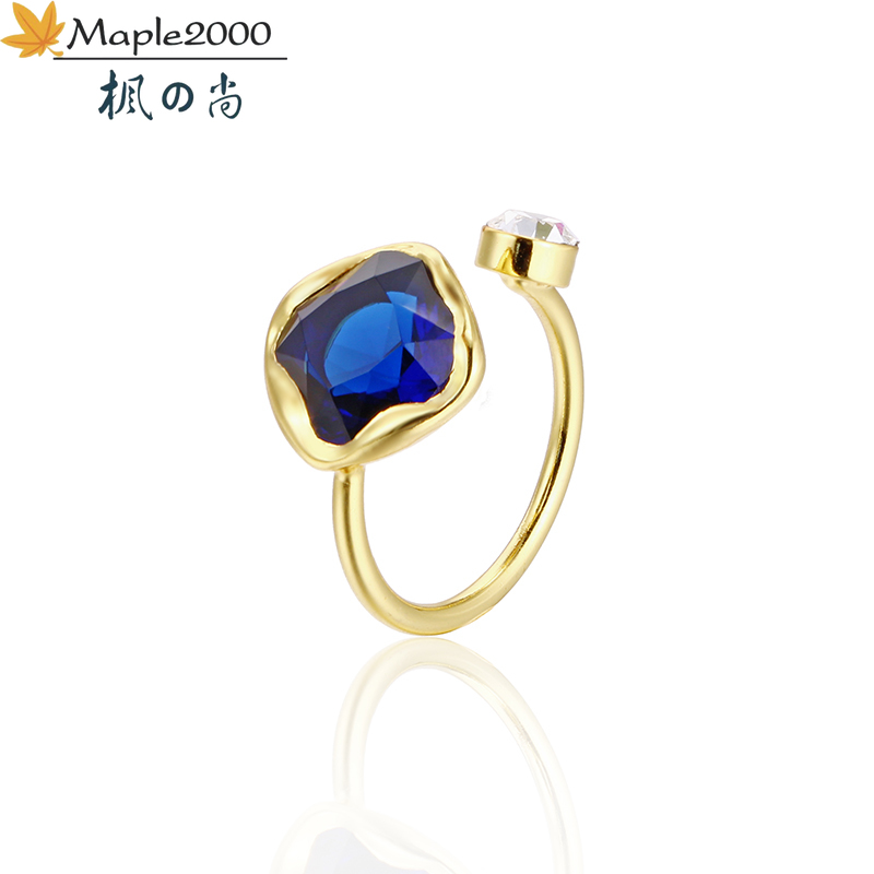 Fashion women ring blue red crystal ring brass Adjustable opening ring gold wedding rings gift for women fashion jewelry(China)