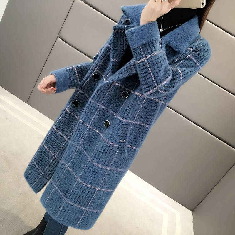 Imitation Nerz Kaschmir Mantel Mid Lange Strickjacke Abrigos Mujer Inverno 2019 Lose Schlank Dick Plaid Jacke Herbst Pullover Top f2055
