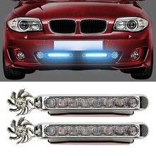 1 пара светодиодный автомобильный дневной ходовой светильник с ветровым питанием, автомобильный светильник s с вращающимся вентилятором, не нужен внешний источник питания, автомобильная лампа