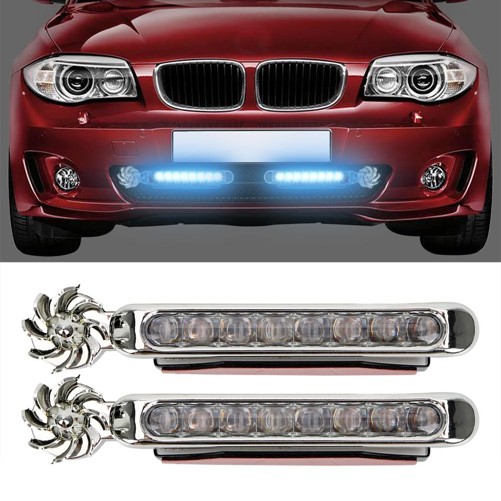 1 paar LED Wind Powered Auto Tagfahrlicht Fahrzeug Lichter mit Umdrehung Fan Keine Notwendigkeit Externe Strom Versorgung Auto lampe
