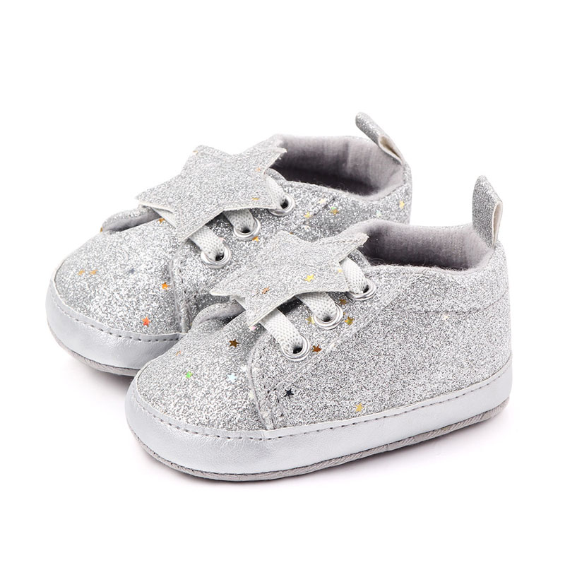 Baby Boys Girls Shoes Fashion First Walkers Breathable PU Sequins Star Print Shoes Sneakers Toddler Soft Soled Shoes