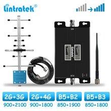 Lintratek 듀얼 밴드 신호 부스터 850 1900 모바일 셀룰러 증폭기 2G 3G 4G LTE 1700 1800 GSM 900 2100 MHz 리피터 17L 키트