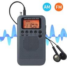 HRD-104 przenośny AM/ FM Stereo kieszeń na Radio 2-zespół cyfrowy strojenia radia Mini odbiornik na świeżym powietrzu Radio w/słuchawki smyczą 1.3 Cal