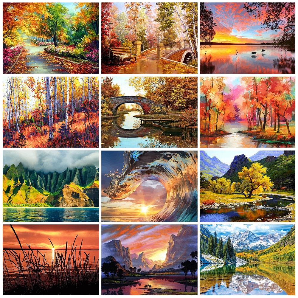GATYZTORY DIY Painting By Numbers HandPainted Oil Painting Landscape Picture Paint Drawing On Canvas Home Decoration Unique Gift