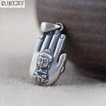 100% 925 Silver Tibetan Buddha-hand Pendant Buddhist Buddha Statue Pendant Tibetan Women Pendant Buddhist Good Luck Amulet