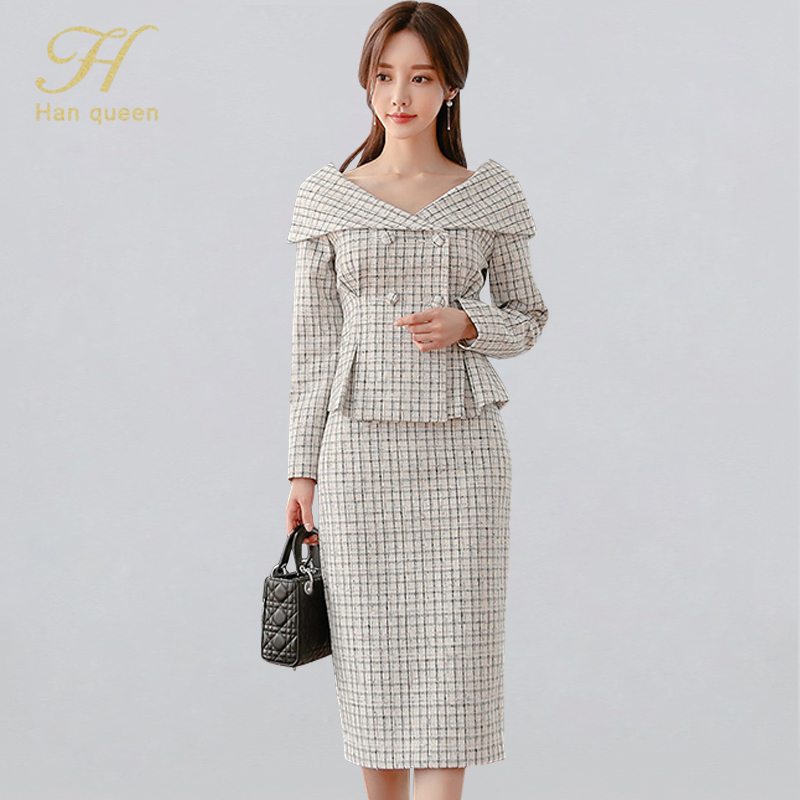 H Han Queen Women's Elegant Plaid Grid 2 Pieces Set Vintage Double-breasted Turn-down Collar Tops & Sheath Pencil Bodycon Skirts