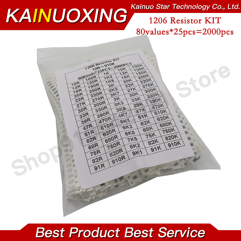 2000pcs 1206 SMD Resistor Kit Assorted Kit 1ohm-1M ohm 5% 80valuesX 25pcs=2000pcs Sample Kit