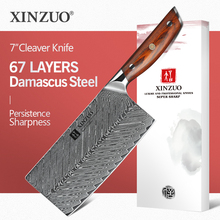 XINZUO 7 Cleaver Knife 67 layers Damascus Steel Kitchen Knives New Arrival Slicing Knife with Good Quality Rose wood Handle