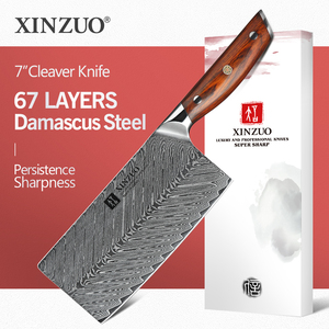 Image 1 - XINZUO 7 Cleaver Knife 67 layers Damascus Steel Kitchen Knives New Arrival Slicing Knife with Good Quality Rose wood Handle