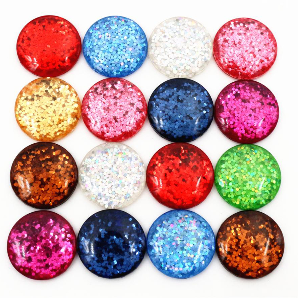 10 x 12mm Gold glitter Flat back Resin Cabochons Cameos