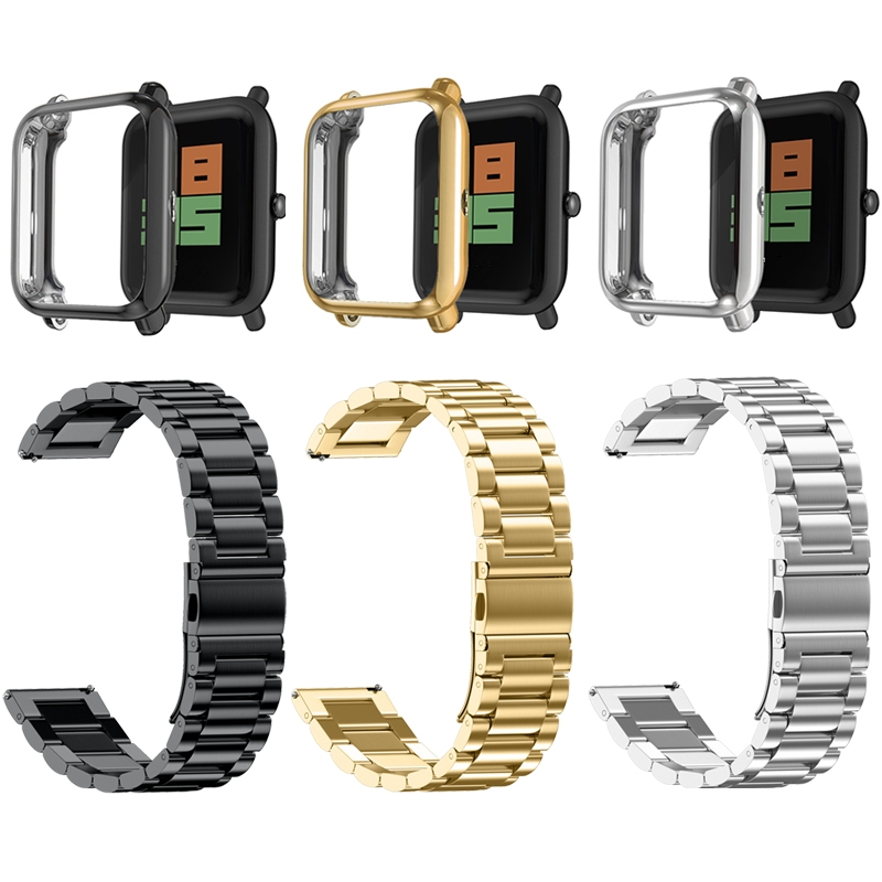 3in1 For Amazfit Bip Strap Case Cover Bracelet Metal Stainless Steel For Huami Amazfit Bip Lite Protector Wrist Strap Accessory