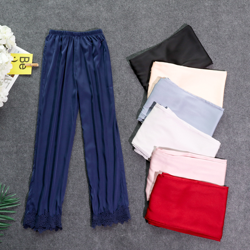 Осенние женские атласные пижамные штаны Свободные повседневные пижамы одежда для сна штаны для отдыха домашняя одежда