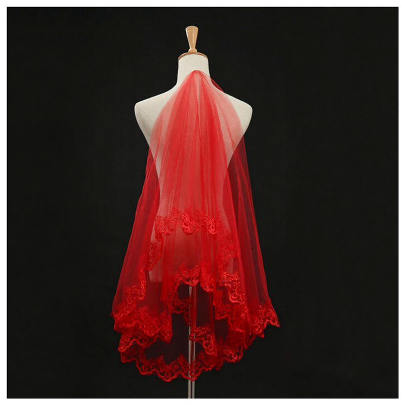 3 Meter Length Cathedral Wedding Veil Lace Edge Bride Mantilla Red