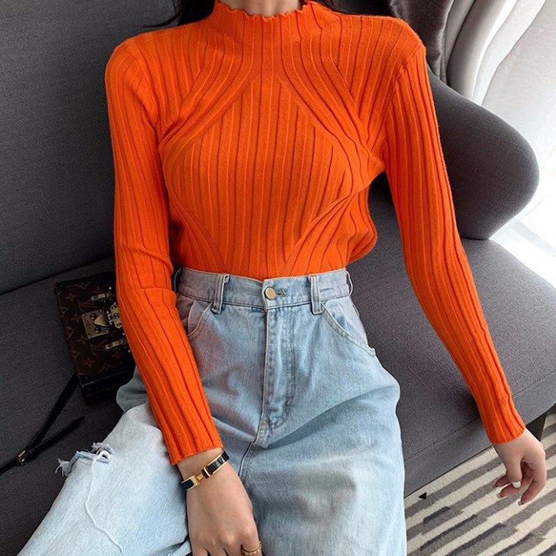 Women Autumn Spring Korean Version Long Sleeve Loose Sweater Women Slim 7 Colors Sweater Black Bottoming Sweater