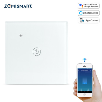Zemimart – Interrupteur de lumière WiFi neutre, fonctionne avec contrôle via Tuya, Alexa, Google Home Assistant, l'application Smart Life, un/deux/trois en option