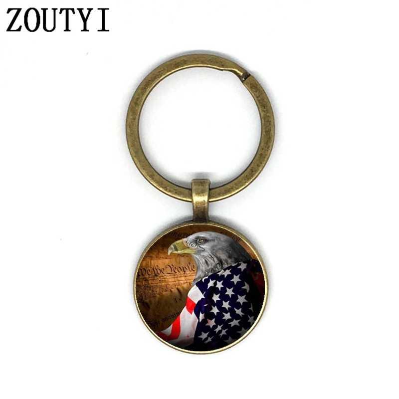 Nowy/glamour eagle i American flag zdjęcia, mężczyzna i kobieta brelok jakość car key wisiorek, wypukłe szkło pęku kluczy.