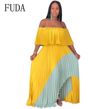 FUDA Summer Pleated Long Dress Women Vacation Sexy Off Shoulder Boho Chiffon Maxi Strapless Bohemian Beach Holiday Dresses