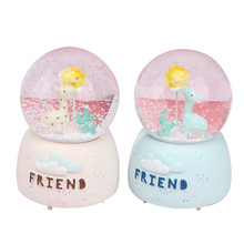 Creative Giraffe Snow Globe Crystal Ball Rotating Music Box Christmas Decoration For Home Home Decoration Accssories new christmas decorations creative snow music lantern festival scene decoration props glowing glass ball with snow toy speelgoed