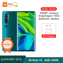 Global Version Xiaomi mi note 10 6GB 128GB 108MP Penta Camera Smartphone Snapdragon 730G 5260mAh 30W fast 6.47
