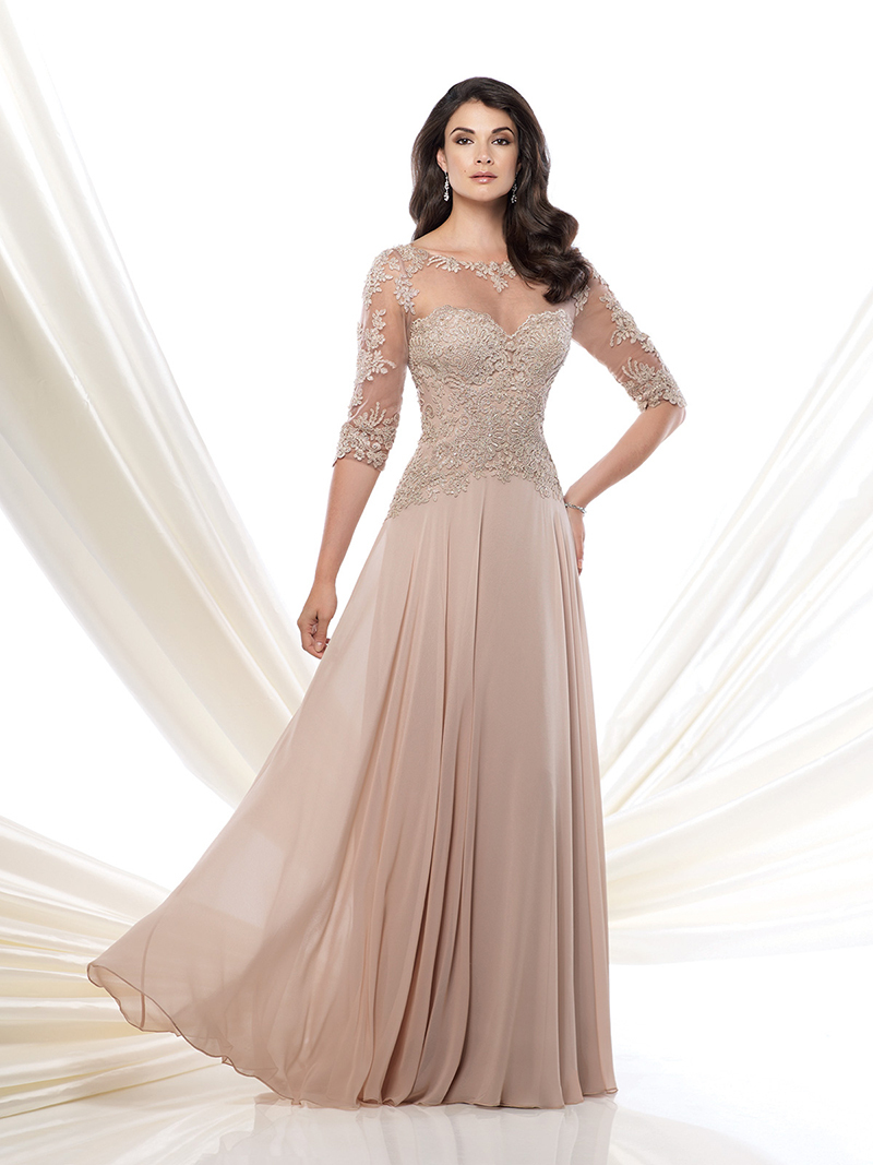 Formal Scoop Backless Applique Chiffon Long Mother Of The Bride Lace Dresses 2015
