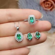 купить SHILOVEM 925 sterling silver Natural Emerald classic fine Jewelry  women wedding  wholesale new gift ctz0406999agml дешево