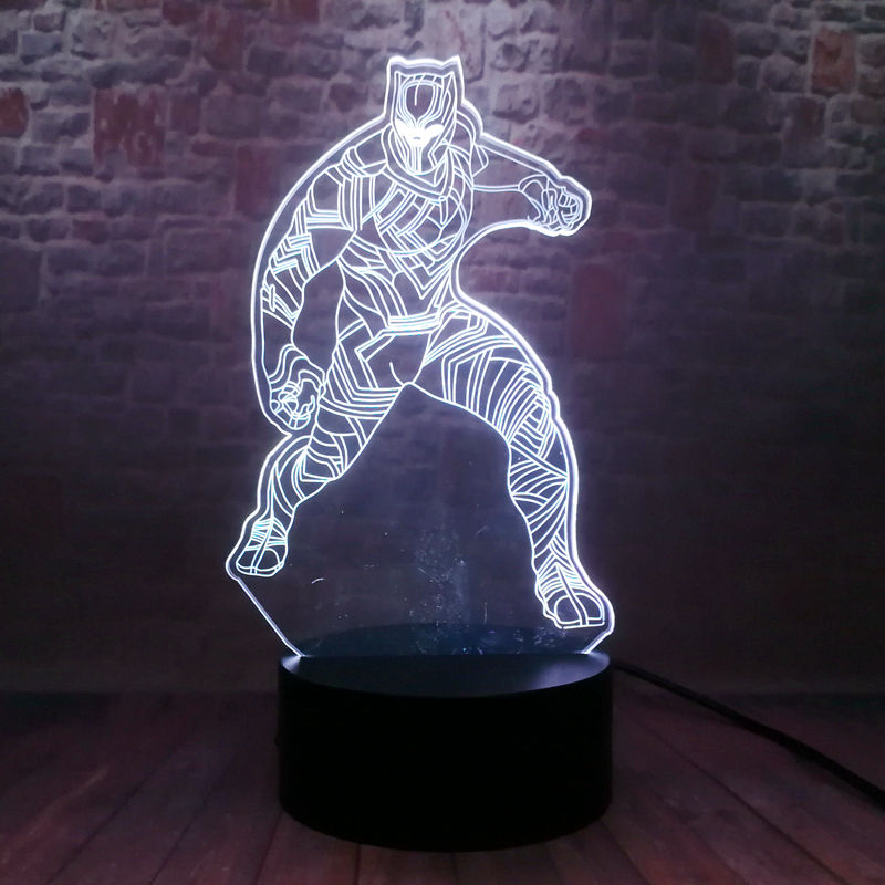 Novidade ilusão 3d nightlight led 7 cores mudando luz marvel pantera negra figurinhas brinquedos