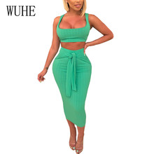 WUHE High Quality Two Pieces Sets Sleeveless Lace-up Dress Summer Hollow Out Bodycon Pencil Elegant Nigh Party Club Wear