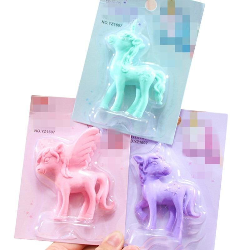 1pcs Cute Unicorn Eraser Cartoon Pony Rubber Kawaii Students Stationery Kids Gifts School Office Correction Supplies