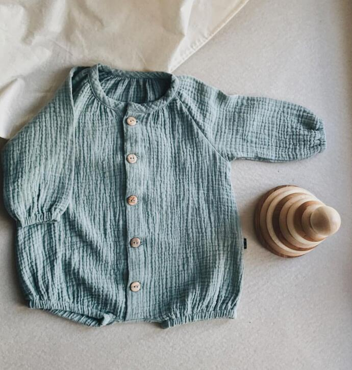 Autumn Long-sleeved Single Row Of Baby Boy And Girl Long Sleeve Clothes  Buckle Cotton  Clothes  Baby Girl Romper