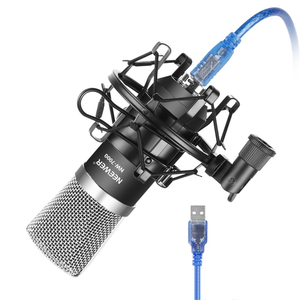 Neewer NW-7000 USB Condenser Microphone Kit For Windows And Mac With Metal Microphone Shock Mount Ball-type Anti-wind Foam Cap